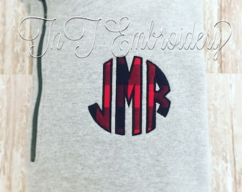 1/4 Zip Pullover with Buffalo plaid applique monogram