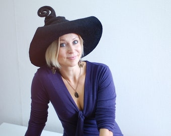 Adorable witch wizard hat black or any other color Custom made