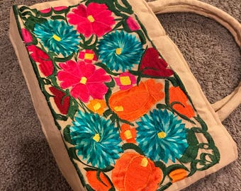 Beige Colorful hand embroider flowers