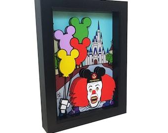 Stephen King Pennywise It Walt Disney World Pennywise Art 3D Art Mickey Ears Poster Print Horror Art Horror Print Horror Movie Evil Clown