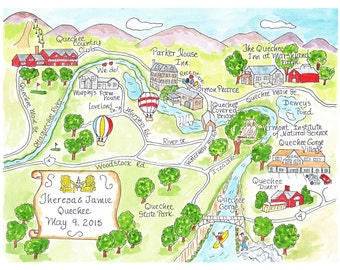 Wedding Map - Hand Drawn Wedding Map-Watercolor Map of your city