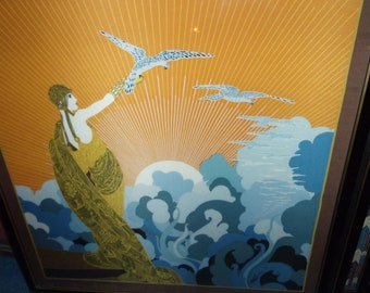 """Erte silk scarf with or without frame """"wings of time"""""""