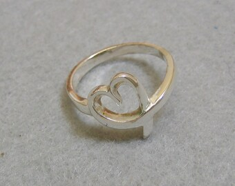 Sterling Silver Open Heart Ring, Vintage, Size 7