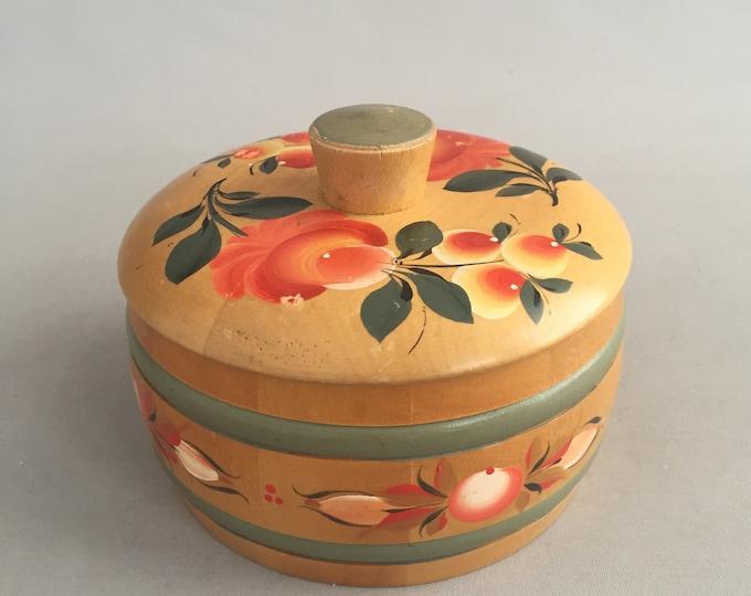 folk painted wooden trinket box