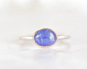 Tanzanite Ring, 14K Gold Tanzanite Stacking Ring, Purple Gemstone Ring, Tanzanite Silver Ring Size 6.75, Size 7, Size 7.25