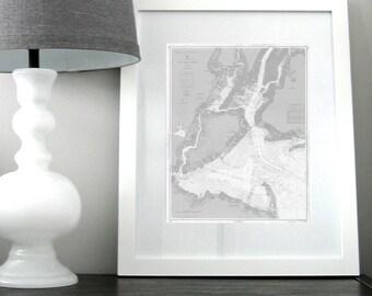 New York Harbor Nautical Chart Map 1963 Grey DIGITAL PRINT for Download 16 x 20 PRINT, Printable Map Art Prints Art, Maps