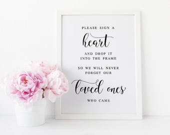 Please Sign A Heart, In Lieu Of Guestbook, Wedding Signage, Wedding Guestbook, Guest Book Sign, Guestbook Sign, Please Sign, Wedding Print