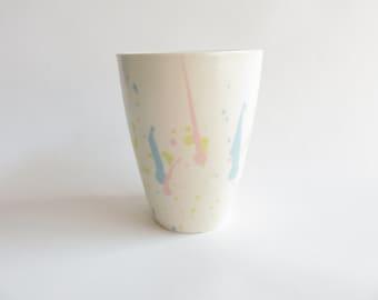 Ceramic mug, pastel, pink, yellow, blue, mug, tea cup, Ceramics and Pottery