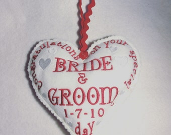 Wedding gift, Embroidered heart decoration,