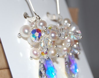 Andrea Cascade Earrings with Pearl and Swarovski Crystals and Baroque AB Briolette on Sterling Silver