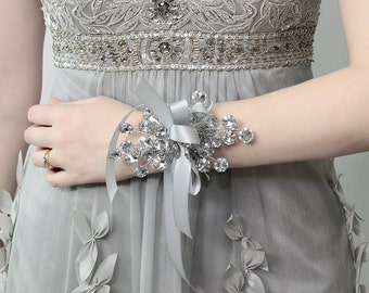 Wrist Corsage - Wedding Corsage - Bridesmaid Corsage, Silver Corsage for Weddings or Prom -  - Prom Dress Accessory