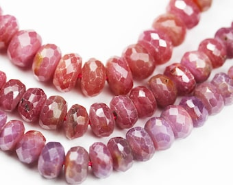 """Natural Ruby, 7.5*5mm Faceted Rondelle Jewelry Beads, One Full 16"""" Strand, about 95beads -GEM1261"""