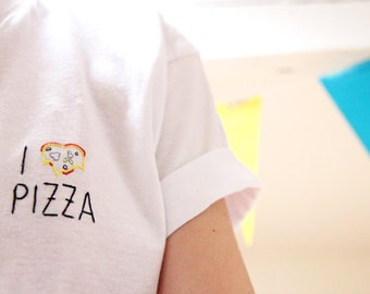 I heart pizza (embroidered tshirt)