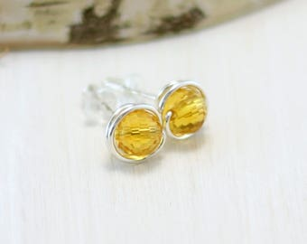 Citrine Earrings, Sterling Silver Citrine Stud Earrings Wire Wrapped November Birthstone Yellow Gemstone Post Earrings