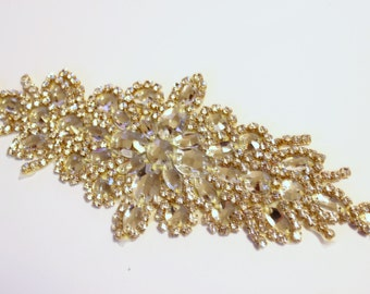 Gold crystal bridal sash, Crystal Wedding bridal belt,  trim, Bridal trim, Bridal sash trim, crystal sash, rhinestone applique