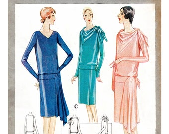 1920s 20s dress pattern // bias cut drape // drop waist // day or evening // vintage sewing pattern reproduction // bust 32 34 36 38 40 42