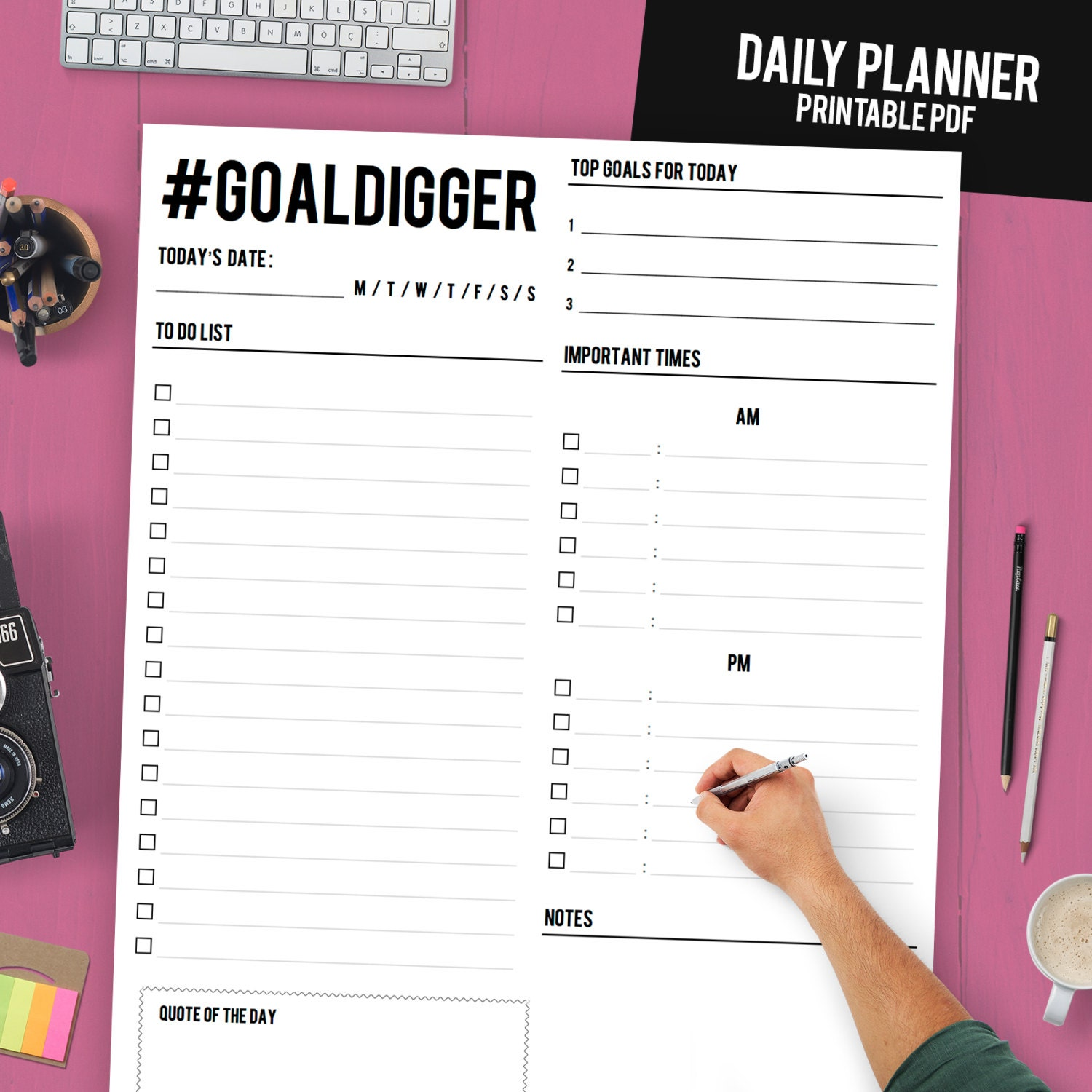 Daily Planner Printable Daily Planner Binder Daily - Daily organizer template