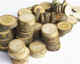 Bunch of tree slices, 100 or 150 wood slices, Various blank slices, Floristry supply, Small Tree Slices, Rustic Circles Branch Crafting DIY