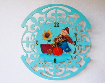 Hand painted/acrylic painting/home decor/ folk art wooden clock
