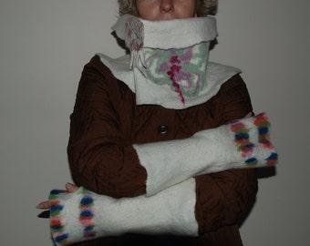 On Sale.Felted Scarf -Neck warmer White Merino wool scarf Felted cuffs