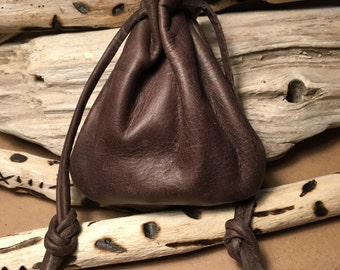 Leather Pouch - Leather Drawstring Pouch Bag - Sack Bag - Handmade Leather Pouch - Brown