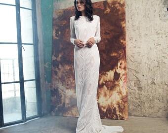 Long Sleeve Lace Wedding Dress, Vintage Wedding Dress, Bridal Gown, Unique wedding dress, simple wedding dress, bohemian wedding dress
