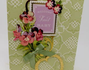 Card Welcome Sweet Baby  for Boy or Girl
