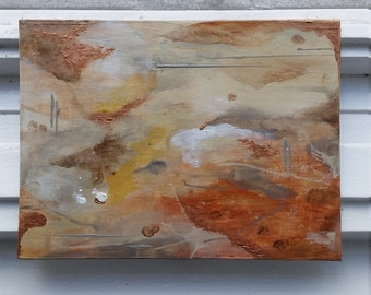 Mars Odyssey - wall painting, painting, abstract painting, acrylic on cardboard, 18x24cm