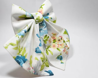 FREE SHIPPING Novelty bow tie, Blue flowers, Winter bow tie, Bridesmaid gift Wedding bow tie Woman bow Woman bow tie White bow tie