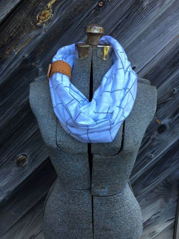 white wide plaid flannel eternity scarf with a brown leather cuff - soft, trendy