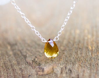 November Birthstone Jewelry - Citrine Drop Necklace - Scorpio Gift for Her - Dainty Crystal Necklace - Silver Citrine Necklace Gift for Her