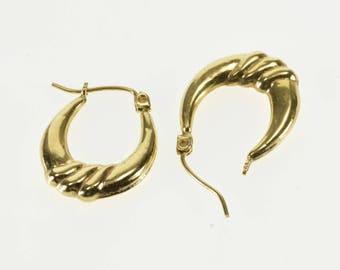 10k Puffy Scalloped Twist Oval Hoop Earrings Gold
