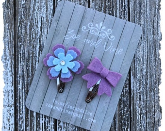 READY TO SHIP, Lavender Blue Wool Felt Flower Mini Bow Clip Set, Baby Clips, Infant Girls Adult Mini Snap Clips