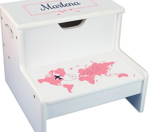 Personalized World Map pink Childrens Step And Storage Stool