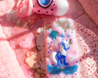 Cover case for IPhone X with blue pony and Decoden style resin decorations!