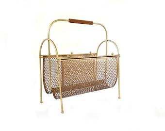 Mid Century Magazine Rack/ Gold Metal Mesh Book/ Newspaper Towel Holder/ Bathroom Storage