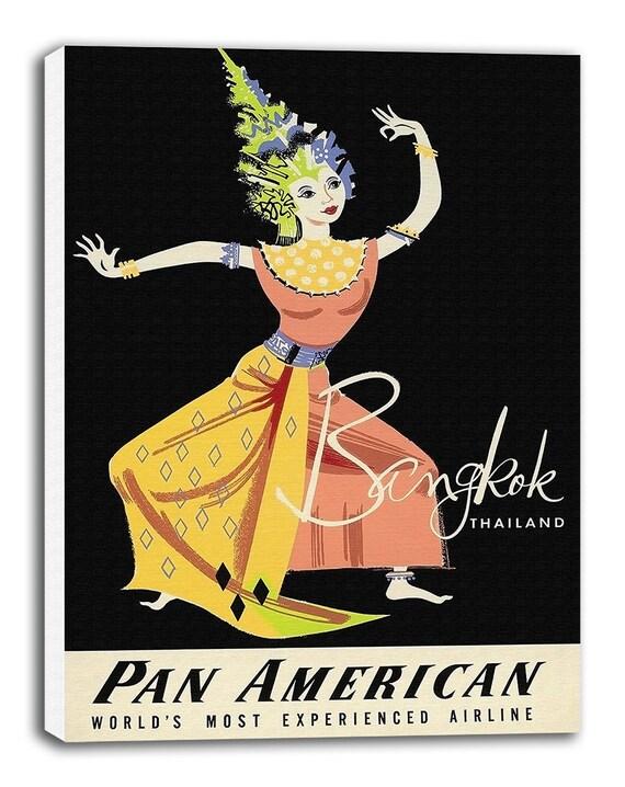Bangkok Thailand Print Vintage Travel Poster Retro Home Decor