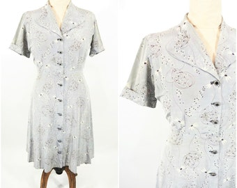 1940s novelty dress | TLC gray floral novelty print cocktail dress | vintage 40s dress | W 31""