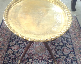 Middle Eastern Engraved Brass Tray Table 44 x 29