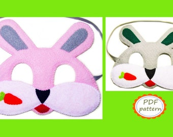 PDF PATTERN Bunny felt mask sewing tutorial instruction DIY handmade Easter animal costume accessory for boys girls adults Dress up play