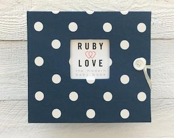 BABY BOOK | Navy Polka Dot Album