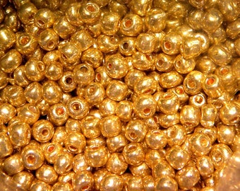 20 g 3 mm - gold shiny ROC82 glass seed beads