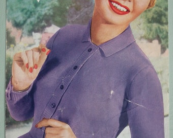 Vintage 1940s 1950s Knitting Pattern Women's Sweater Jumper 40s 50s original pattern Bestway UK 3660 collar and buttoned front