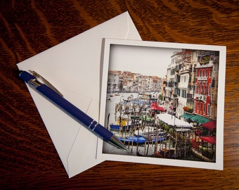 0632 Grand Canal Fine Art Note Cards Single Cards or 5 pack- Vintage Look - Venice, Italy - Italian - Vintage Look