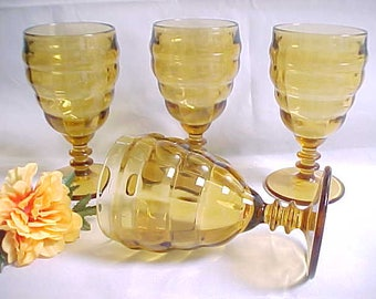1920s Cooperative Flint #557 Amber Goblets (4), Heavy Pressed Sturdy Table Glass From Depression Era,  Old Colored Stemware with Wafer Stem