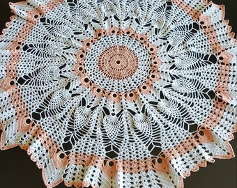 Peach and white pineapple table topper
