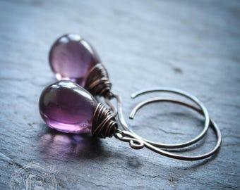 Fairy Drop Earrings in Purple. Simple Rustic Everyday Czech Glass Hoop Drop Earrings in Elixir With Sterling Silver or Copper.