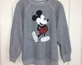 1970's Mickey Mouse Disney Character Heather Gray Pullover Sweatshirt size Large soft Tropix Togs white boots excellent condition #2