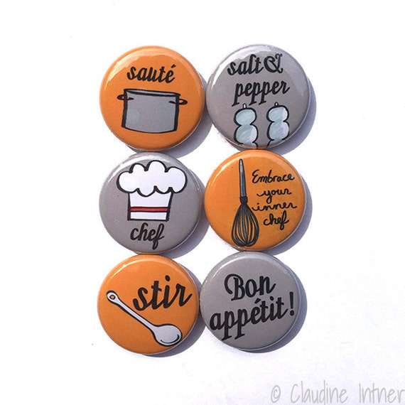 Koch-Magnet oder Button Button Set umarmen Ihre innere