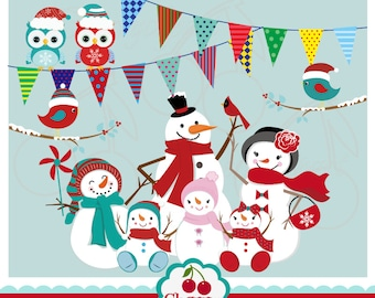 Winter Time Owl, Snowmen,Snowmen family, Bunting Digital Clipart Set-Personal and Commercial Use